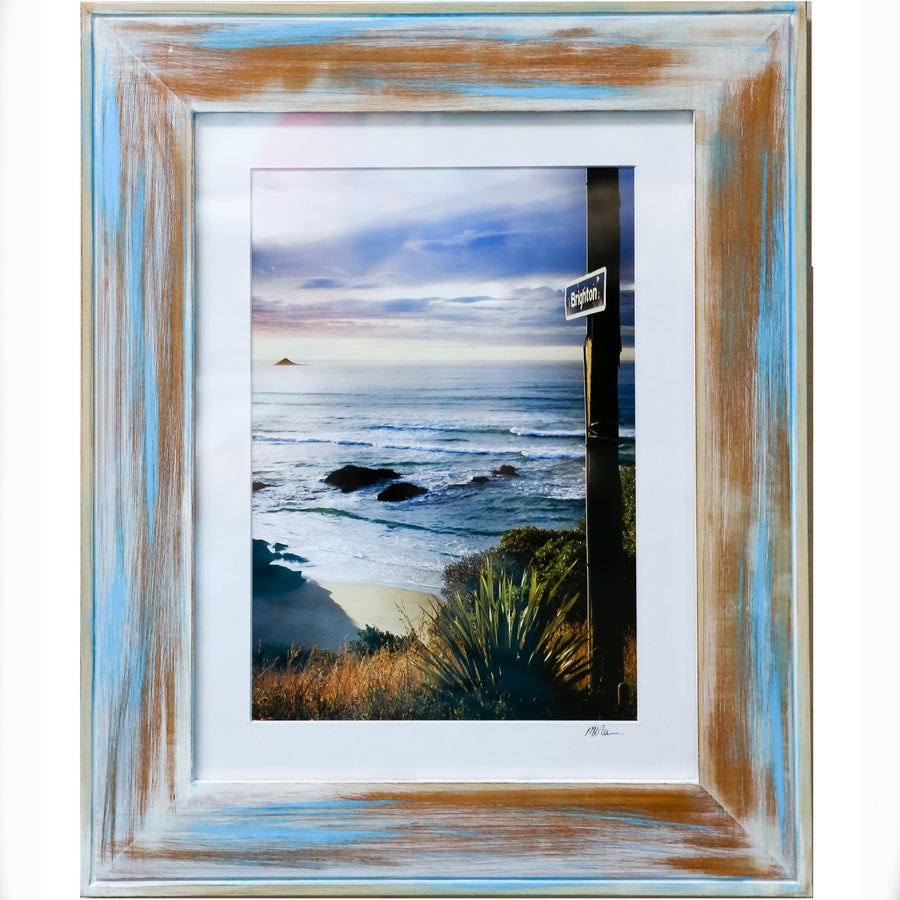 Limited edition distressed framed photo of the Brighton sign, Dunedin, New Zealand by Michele Newman Photographer Starfish Photos | Design
