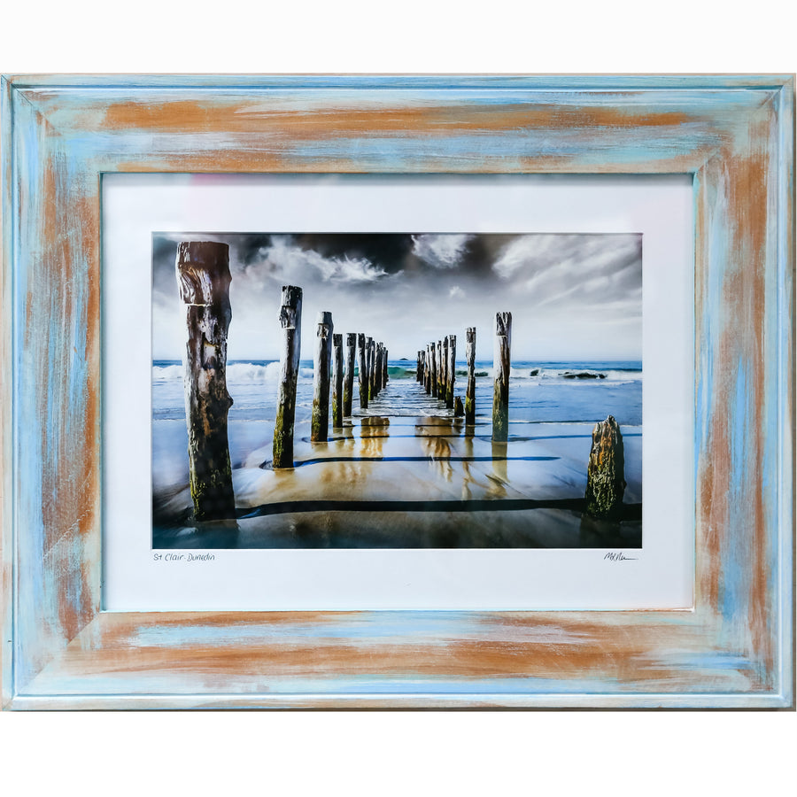 Limited edition distressed framed photo of the St Clair poles, Dunedin, New Zealand by Michele Newman Photographer Starfish Photos | Design