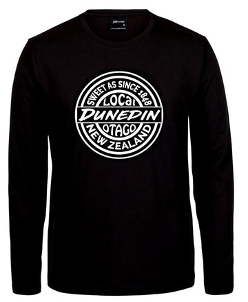 t shirt sweet as dunedin otago new zealand Black long sleeve