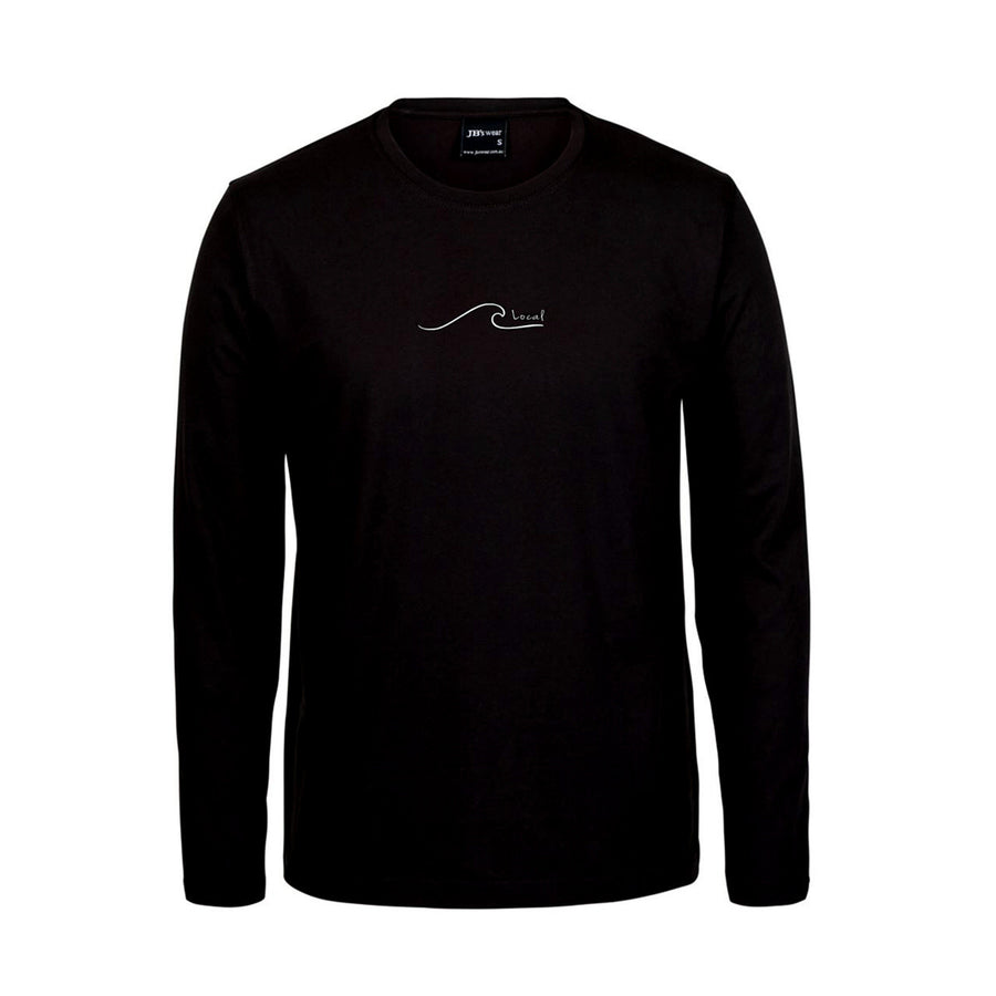 surf local brighton t shirt long sleeve black, dunedin, new zealand