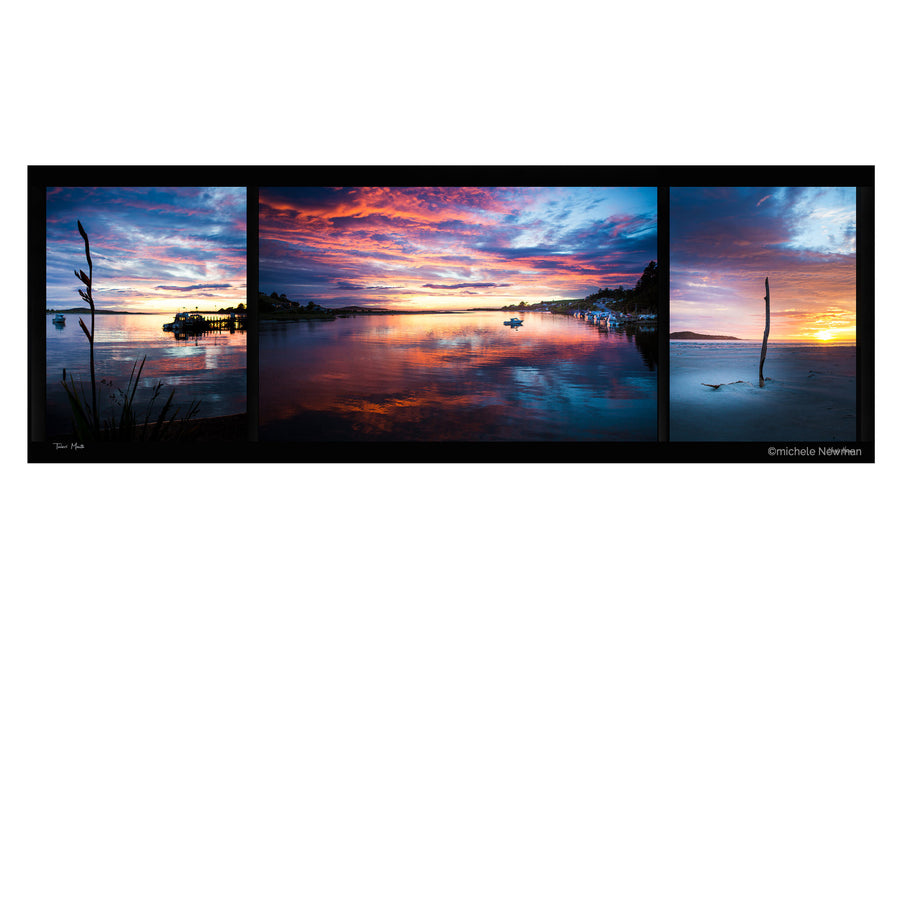 taieri mouth triptych photo at sunrise dunedin new zealand wharf beach river