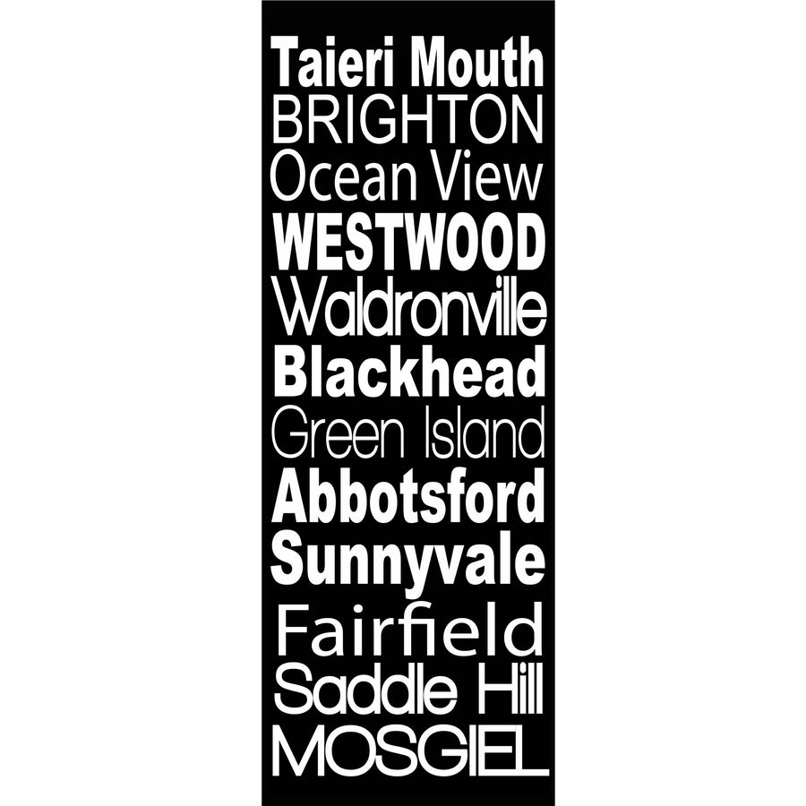 taieri mouth brighton green island fairfield to mosgiel word art