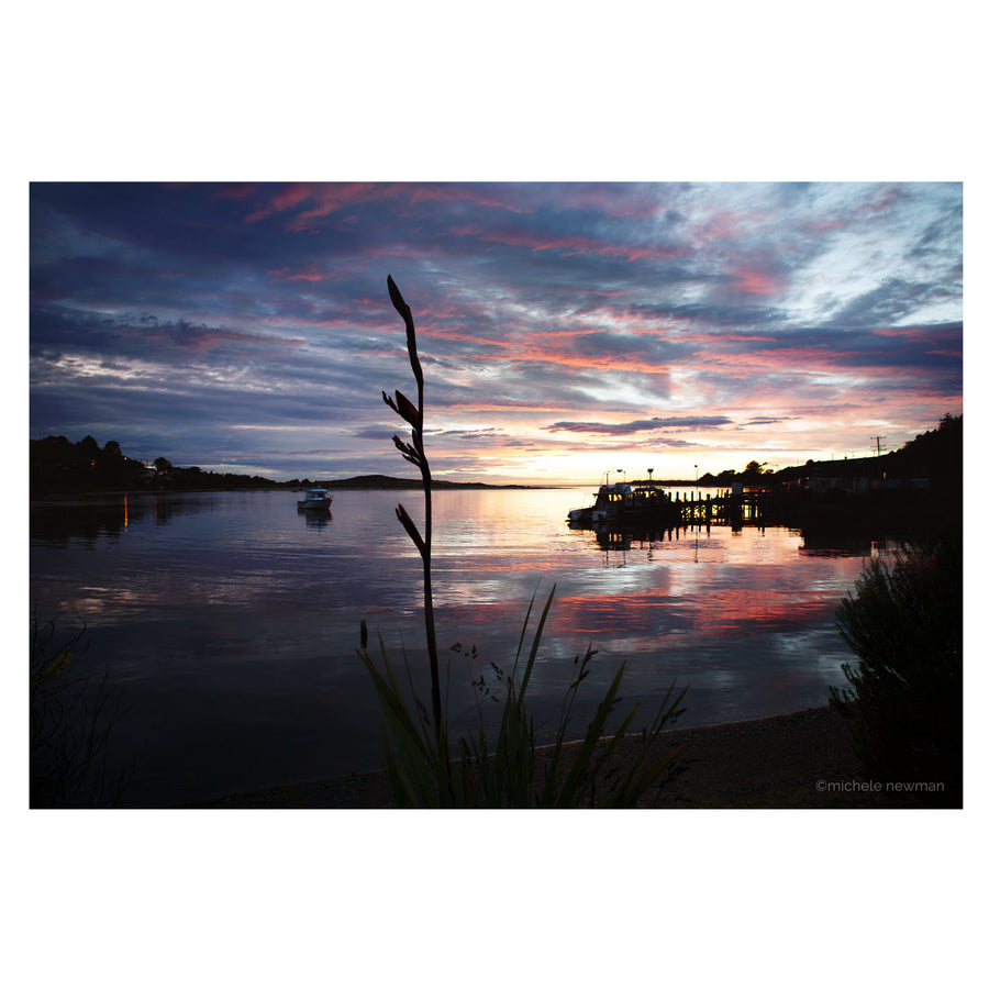 taieri mouth river photo wharf at sunrise with flax daybreak dunedin otago