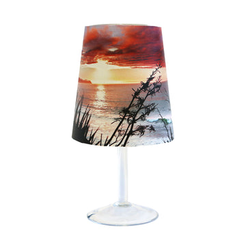 wine glass lamp cover ocean view sunrise