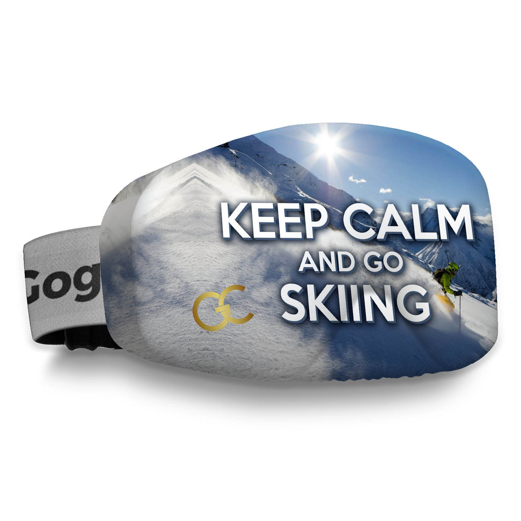 keep calm and go skiing goggles cover