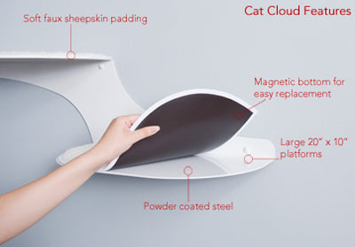 Refined Kind Cat Clouds Cat Shelf Titanium - Left Facing