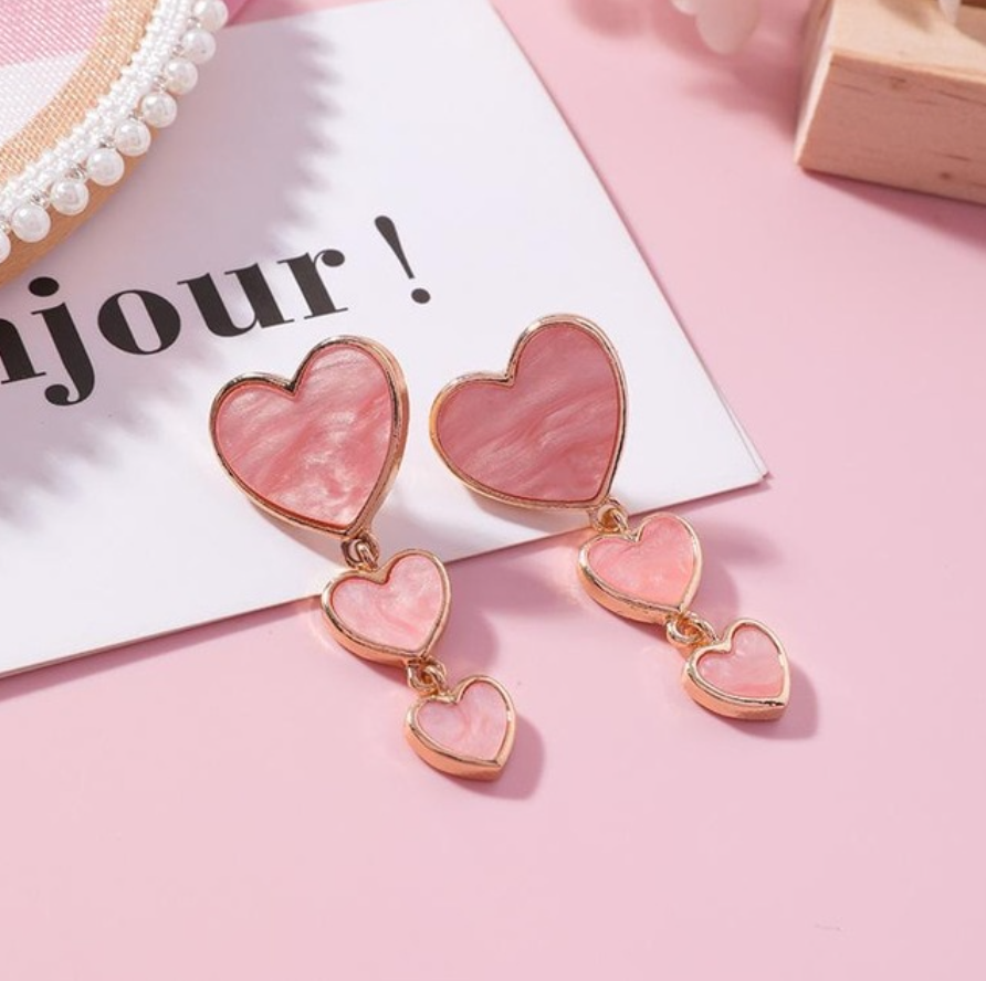 Layered Heart Drop Earrings