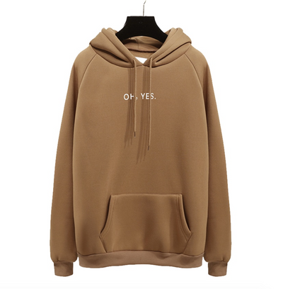 Oh Yes Print Pullover Hoodies