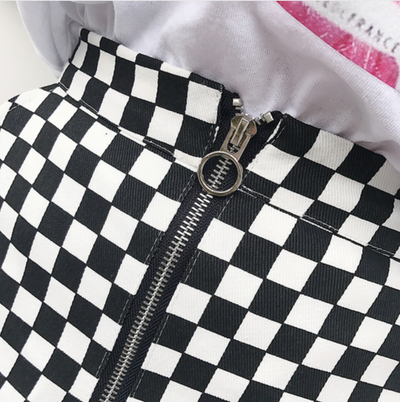 Checkered Zip Mini Skirt