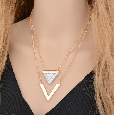 Gold Marble Tribal Necklace