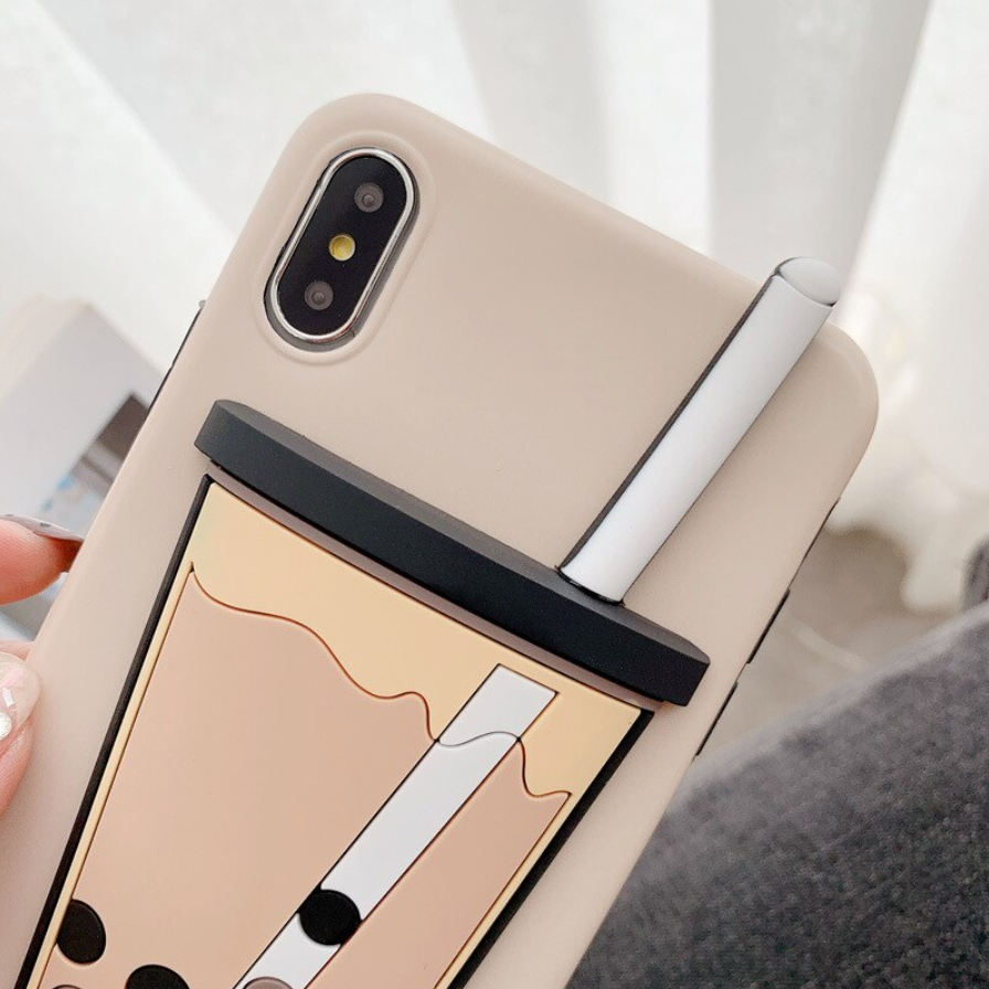 3D Boba Milk Bubble Tea Silicone Matte Phone Case