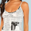 Newspaper Printed Mini Dress