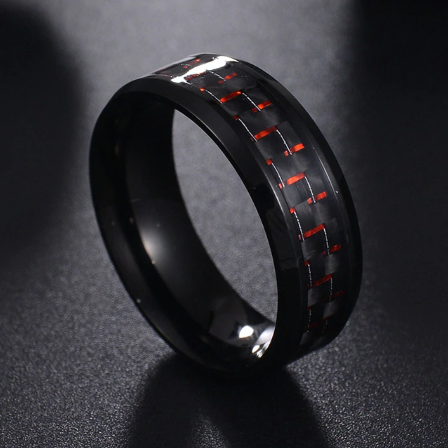 Titanium Steel Black Carbon Ring
