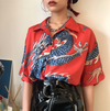 Dragon Print Button Up Shirt
