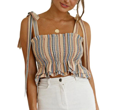 Pleated Bandage Striped Crop Top