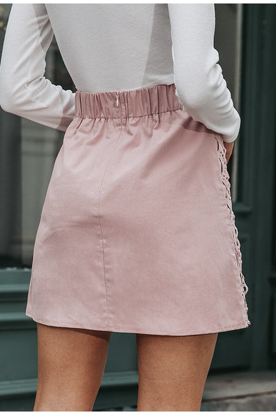 A-Line Lace Embroidery Short Skirt