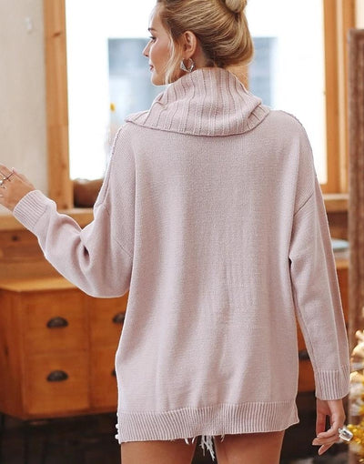 Pearl Beading Turtleneck Sweater