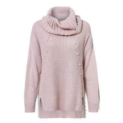 Pearl Beading Turtleneck Sweater - Plus Size Sweaters - Winter Clothes