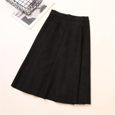 High Waisted Below Knee Skirt