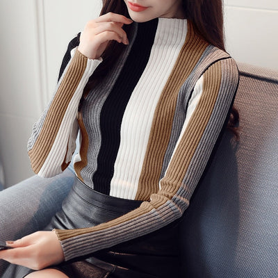 Turtleneck Knit Vertical Striped Sweater