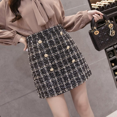 Women's Buttons Tweed Mini Skirt - Ladies Skirt - Summer Skirts