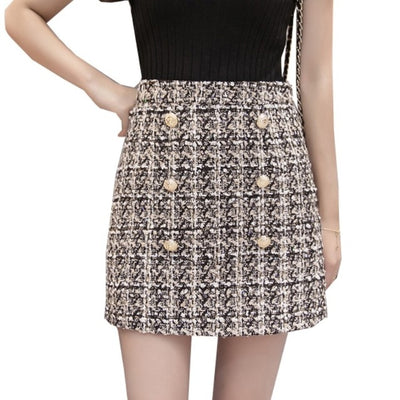 Women's Buttons Tweed Mini Skirt