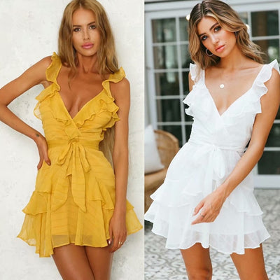 Deep V Neck Ruffle Bow Sexy Dress - Summer Dresses - Short Dress