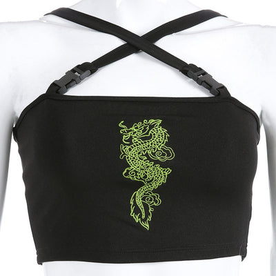 Dragon Embroidery Crop Top
