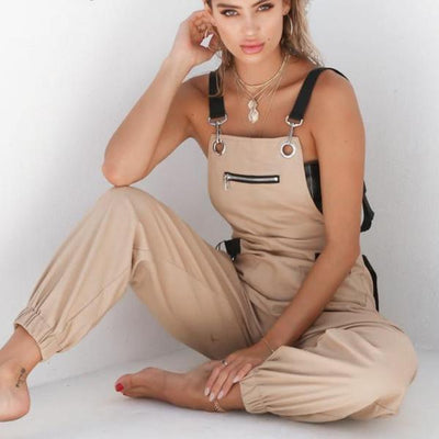Sleeveless Loose Strap Pockets Pants