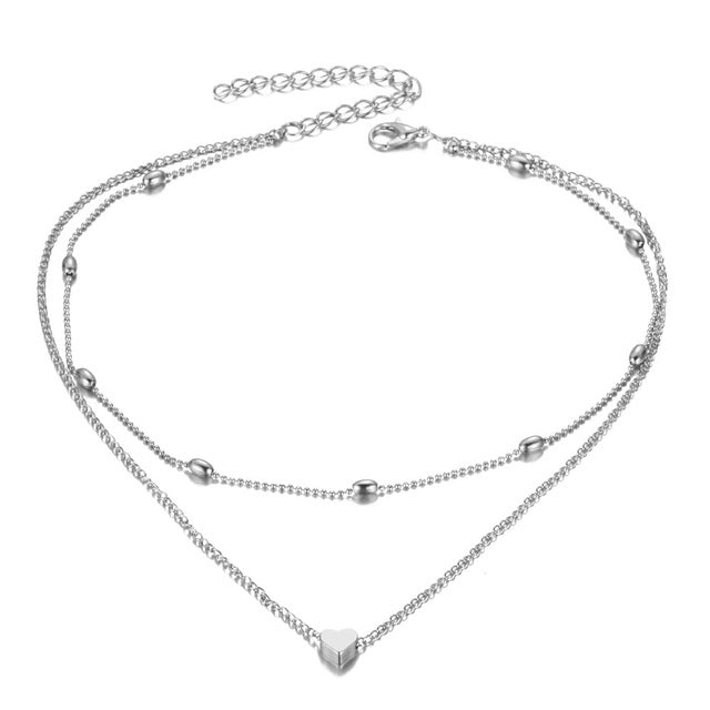 Love Heart Double Chain Choker Necklace