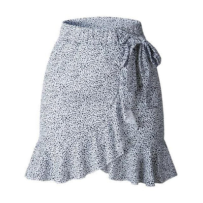 Multi Dot Print Bow Tie Skirt - Mini Wrap Skirts - Skirts for Women