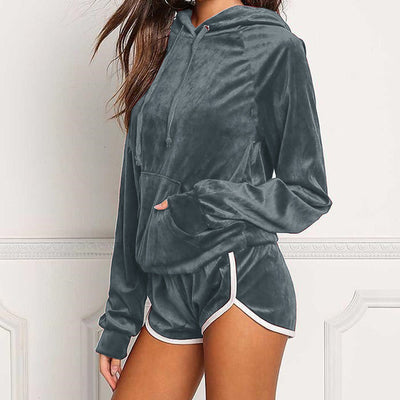 Velvet Winter Shorts Tracksuit Set