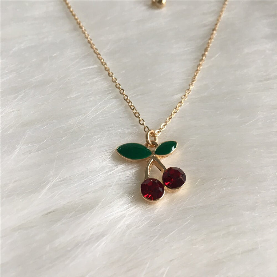 Cherry Shape Stone Pendant Necklace