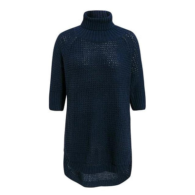 Half Sleeve Turtleneck Knitted Sweater - Jumper - Pullover Sweater