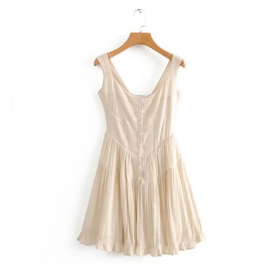 Vintage Pleated Short Dress