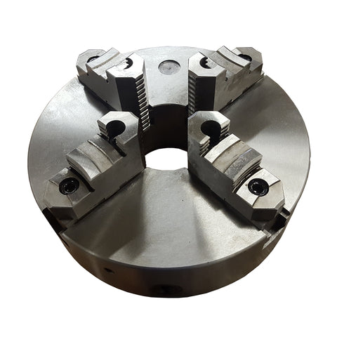 Front view of a twelve-inch four-jaw self-centering lathe chuck.
