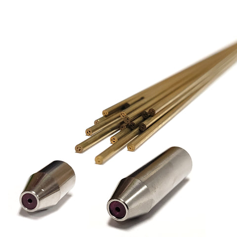 Twenty 1.4mm metric brass electrodes and two electrode guides.
