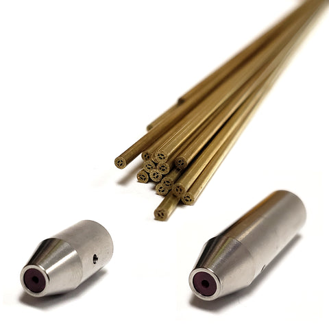 Twenty 1.5mm metric brass electrodes and two electrode guides.