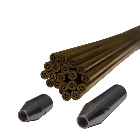 Twenty 3mm metric brass electrodes and two electrode guides.