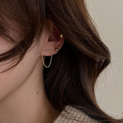 【NEW】2021 春夏 18kgp チェーンピアス gold/silver