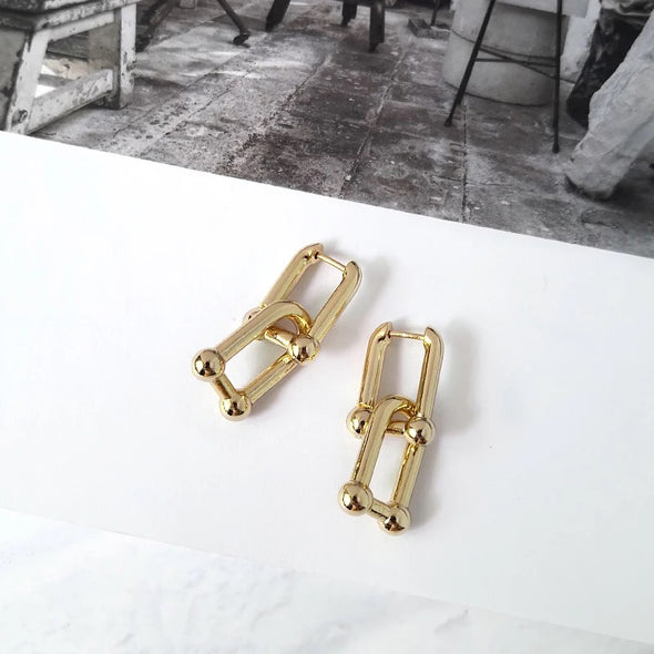 【NEW】 Uリンク チェーンデザインピアス gold/silver 2020トレンド