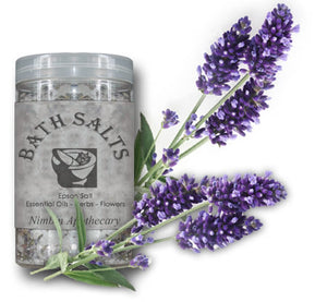 Nimbin apothecary sells lavender Bath salts online, to relax aching, sore muscles