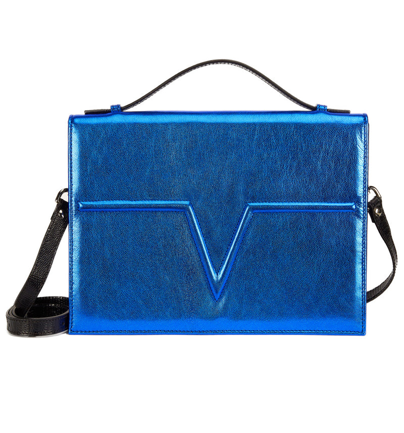 Metallic Blue Metise Satchel
