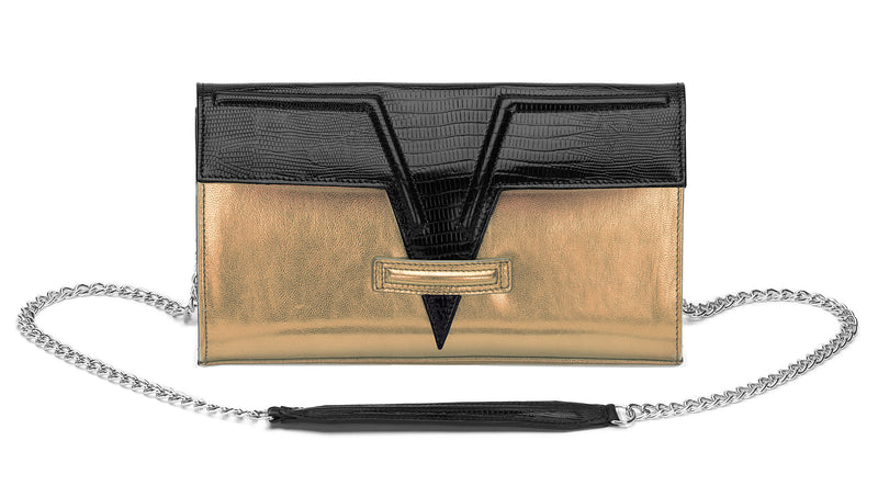 Metallic Gold Metise Clutch