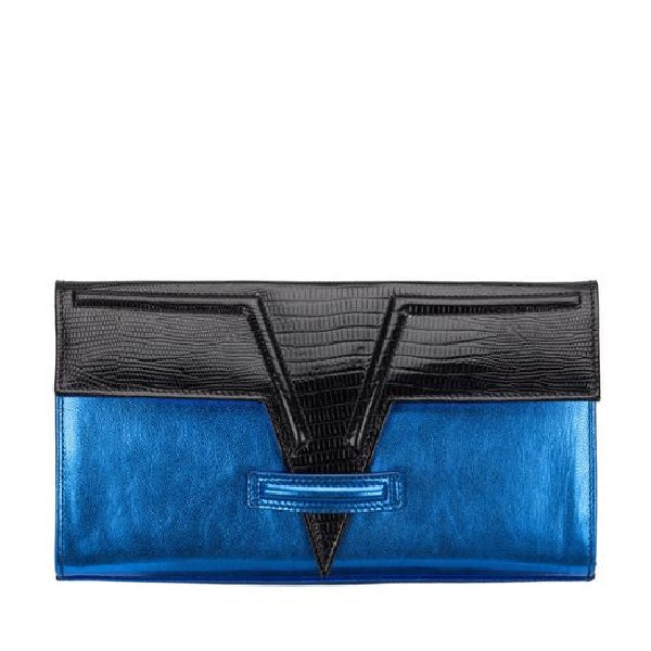Metallic Blue Metise Clutch
