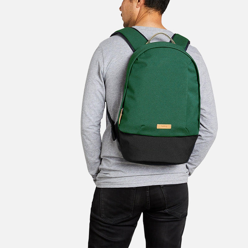 Bellroy Classic Backpack Forest on a man