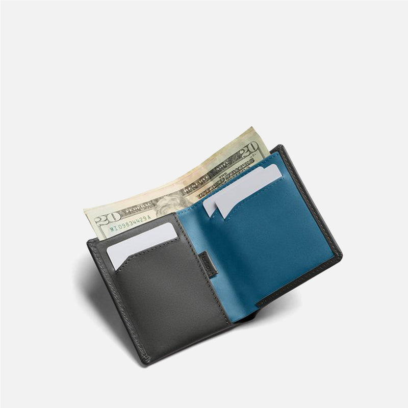 Bellroy Note Sleeve Charcoal Artic Blue bills