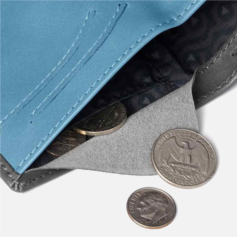 Bellroy Note Sleeve Charcoal Artic Blue coins