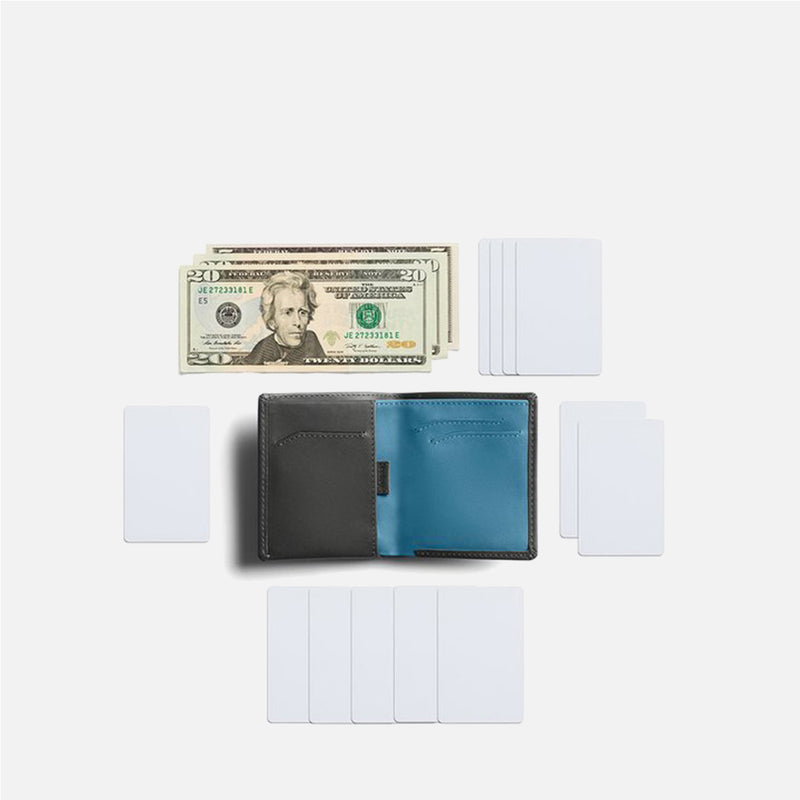 Bellroy Note Sleeve Charcoal Artic Blue flat lay