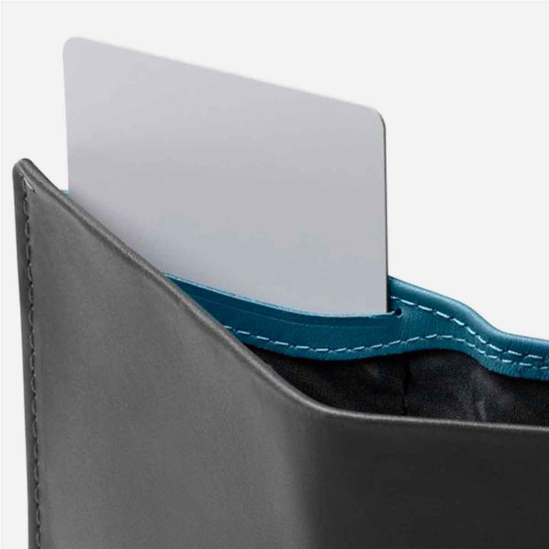 Bellroy Note Sleeve Charcoal Artic Blue hidden pocket